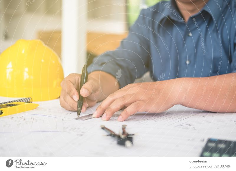 Architect or planner working on drawings for construction Design Desk Work and employment Profession Office Business Meeting Computer Notebook Technology