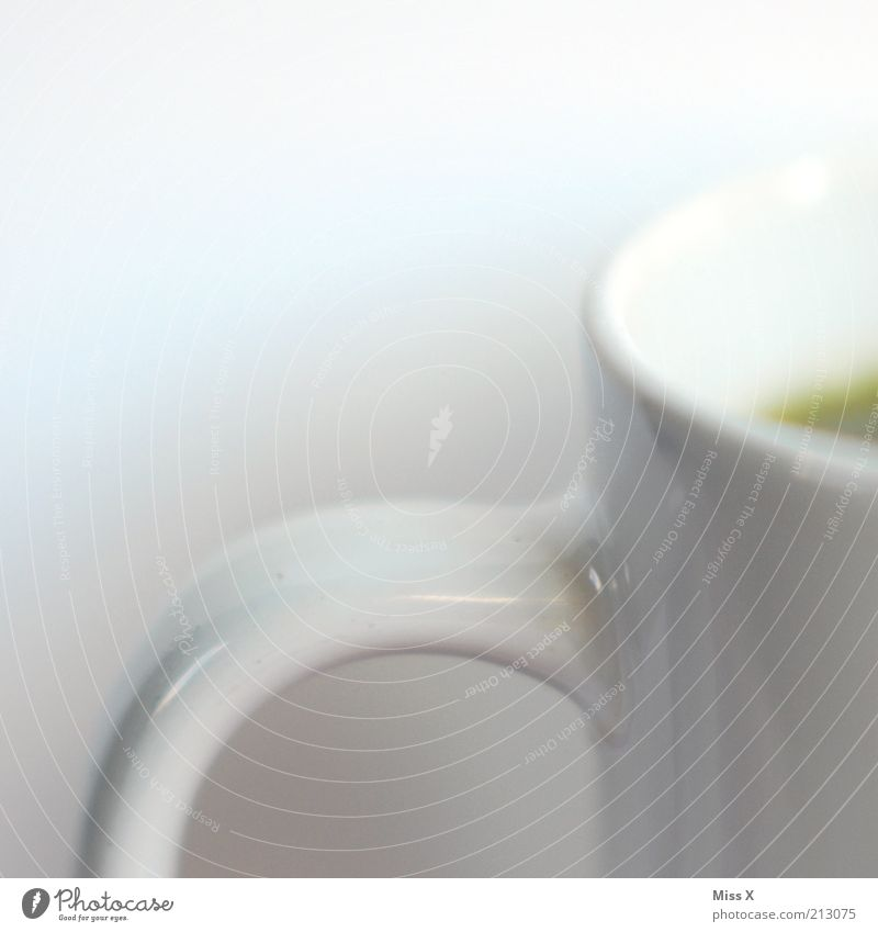 white Food Beverage Hot drink Coffee Tea Cup Mug White Pure Carry handle Colour photo Studio shot Close-up Detail Deserted Copy Space left Copy Space top