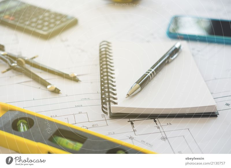 Architecture, engineering plans and drawing equipment Design Desk Work and employment Profession Office Business Meeting Technology Man Adults Building Draw