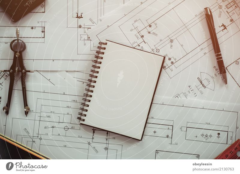 Architecture, engineering plans and drawing equipment Man Blue Adults Building Business Design Work and employment Copy Space Office Technology Idea