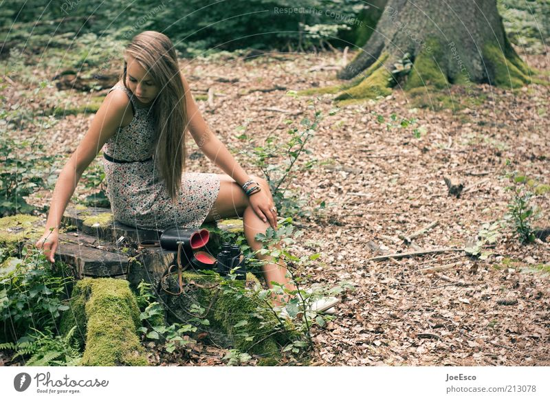 youth research 03 Lifestyle Leisure and hobbies Playing Trip Human being Woman Adults 1 Plant Tree Grass Bushes Moss Forest Dress Observe Relaxation Looking