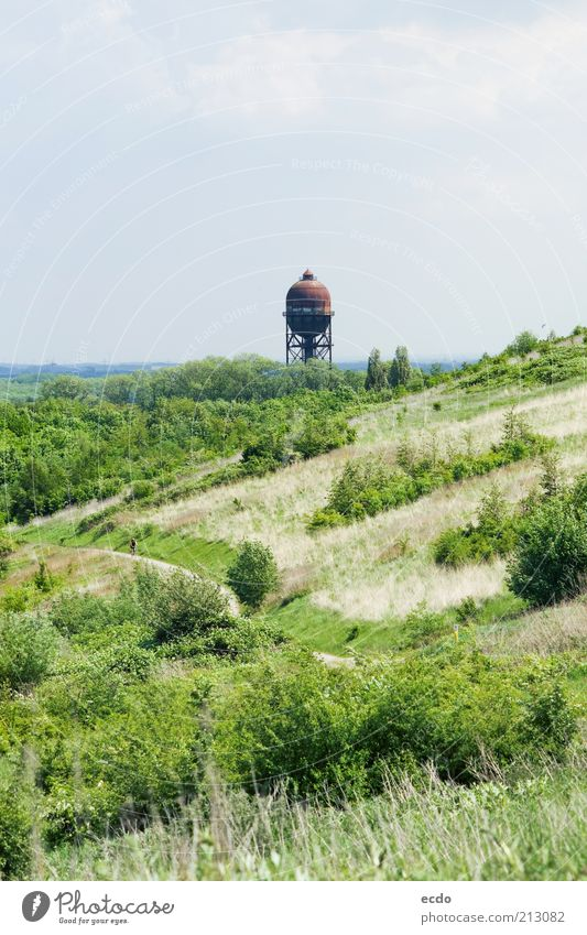 LanstroperEi Landscape Air Clouds Spring Grass Bushes Wild plant Hill Germany Water tower Tall Cold Blue Brown Green White Curiosity Storage Far-off places far