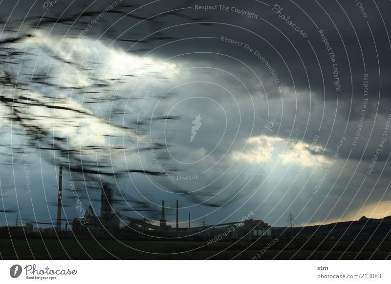Sky Nature Clouds Dark Landscape Weather Wind Climate Future Industry Factory Illuminate Manmade structures Gale Storm Thunder and lightning