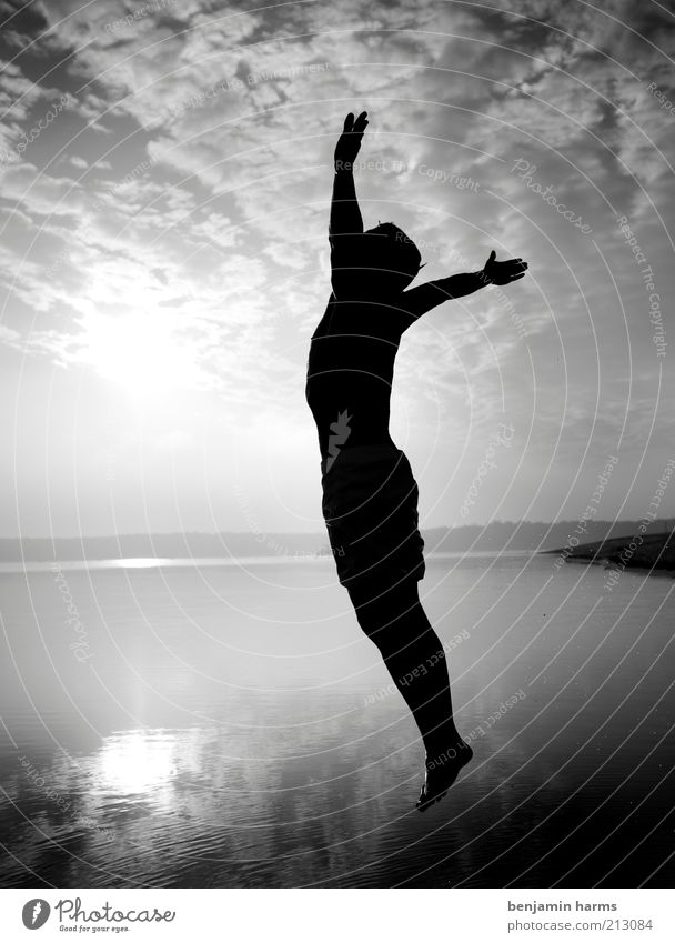 jump Life Freedom Masculine Young man Youth (Young adults) Man Adults 18 - 30 years Jump Infinity Brave Black & white photo Exterior shot Morning Silhouette