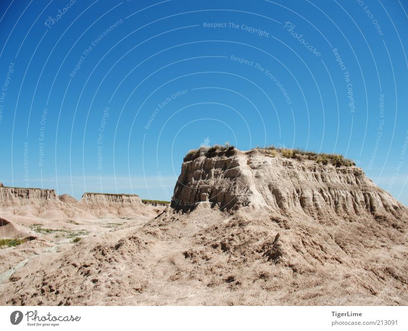Badlands Pedestal Environment Nature Landscape Sand Air Sky Cloudless sky Sunlight Summer Climate change Warmth Drought Hill Rock Mountain Exceptional