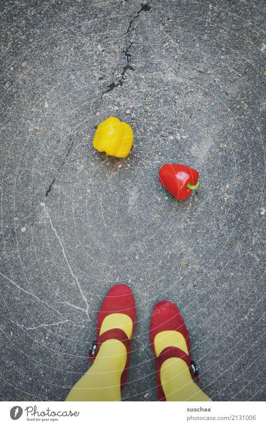 Woman Red Girl Street Yellow Legs Exceptional Food Footwear Vegetable Asphalt Stockings Strange Pepper High heels
