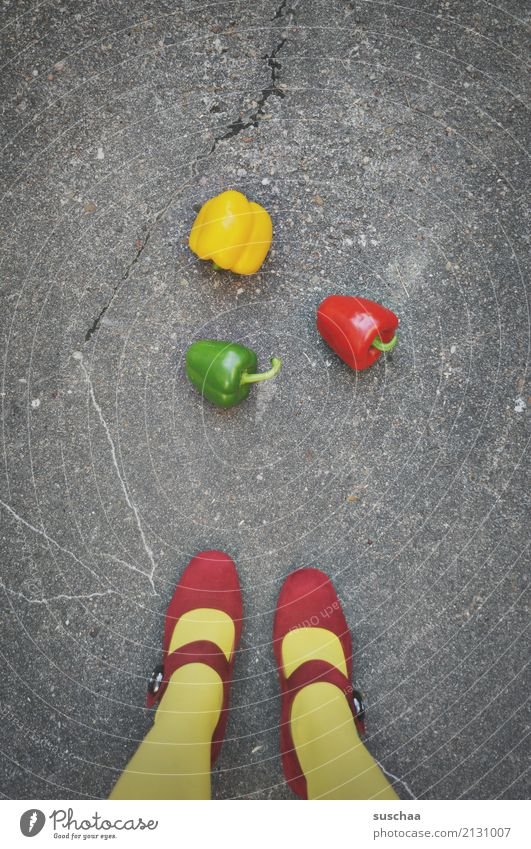 paprika (2) feet Legs Woman Girl feminine Stockings Footwear High heels Red Yellow Green traffic light colour Street Asphalt Vegetable Pepper Food 3 Exceptional