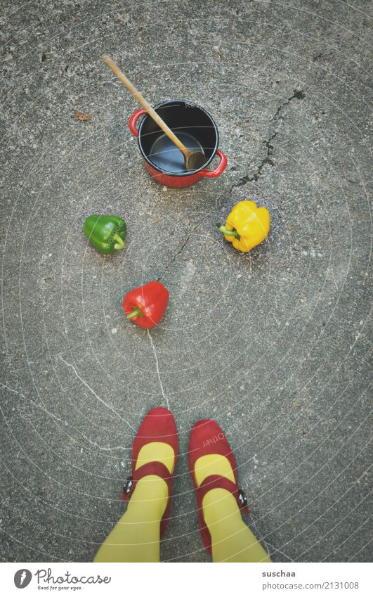 street cooking feet Legs Woman Girl feminine Stockings Footwear High heels Red Yellow Green Street Asphalt Vegetable Pepper Food 3 Exceptional Strange dropped