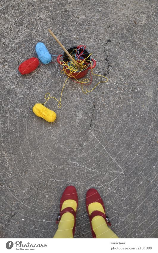 Woman Blue Red Girl Street Yellow Legs Exceptional Footwear Crazy Asphalt Stockings Muddled Strange Cooking Wool