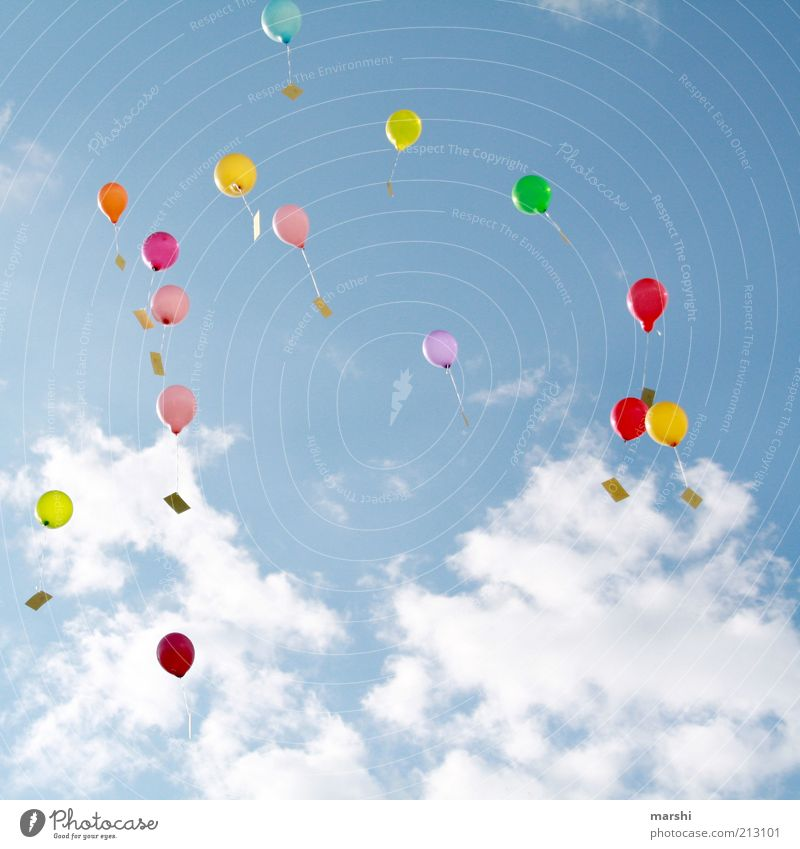 Sky Blue Summer Clouds Far-off places Emotions Spring Freedom Flying Tall Balloon Desire Copy Space Blow Go up Height