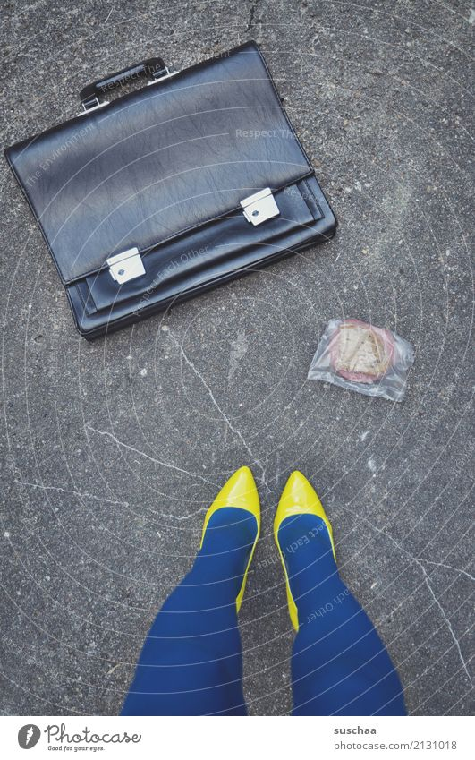 Woman Blue Street Yellow Legs Work and employment Footwear Whimsical Strange High heels Brunch Lunch hour File case