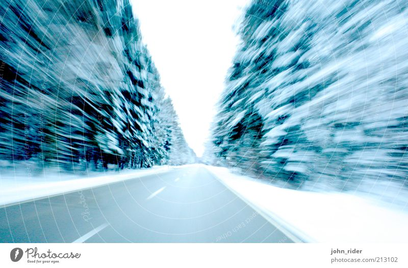 Forest Speed Winter Ice Frost Snow Tree Traffic infrastructure Motoring Street Vehicle Dream Threat Far-off places Cold Sustainability Blue Power Determination