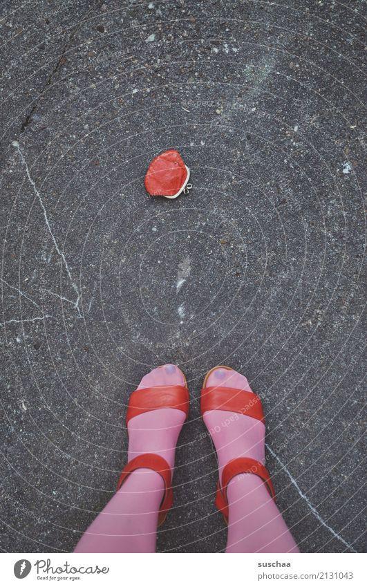 Woman Red Street Legs Feet Pink Footwear Stand Money Asphalt Stockings Find Doomed Lift High heels Lose
