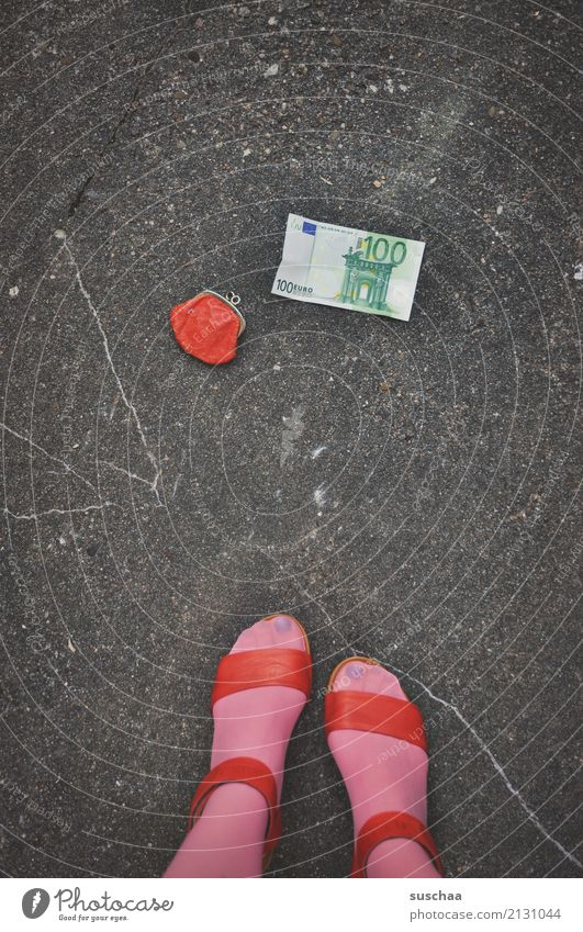 Woman Red Street Legs Feet Pink Footwear Stand Money Asphalt Stockings Bank note Find Doomed Euro Lift