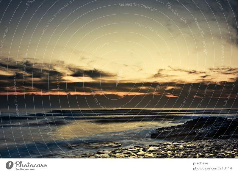 golden hour Summer Beach Ocean Waves Nature Sky Clouds Sunrise Sunset Rock Coast Esthetic Exotic Warmth Gold Joie de vivre (Vitality) Freedom Colour photo