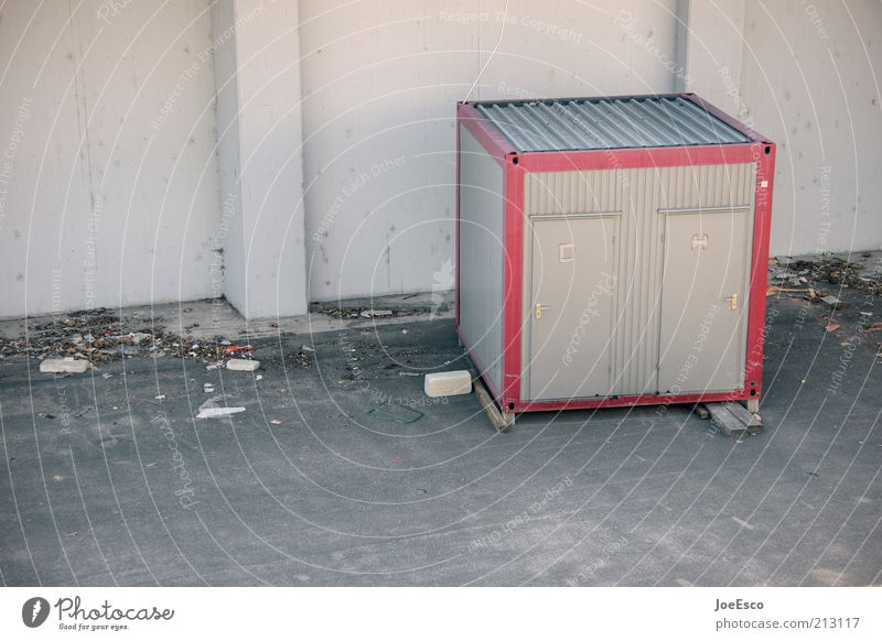 [PC user meeting FFM] #5 Construction site Small Toilet Container Colour photo Subdued colour Exterior shot Deserted Copy Space left Day Copy Space bottom