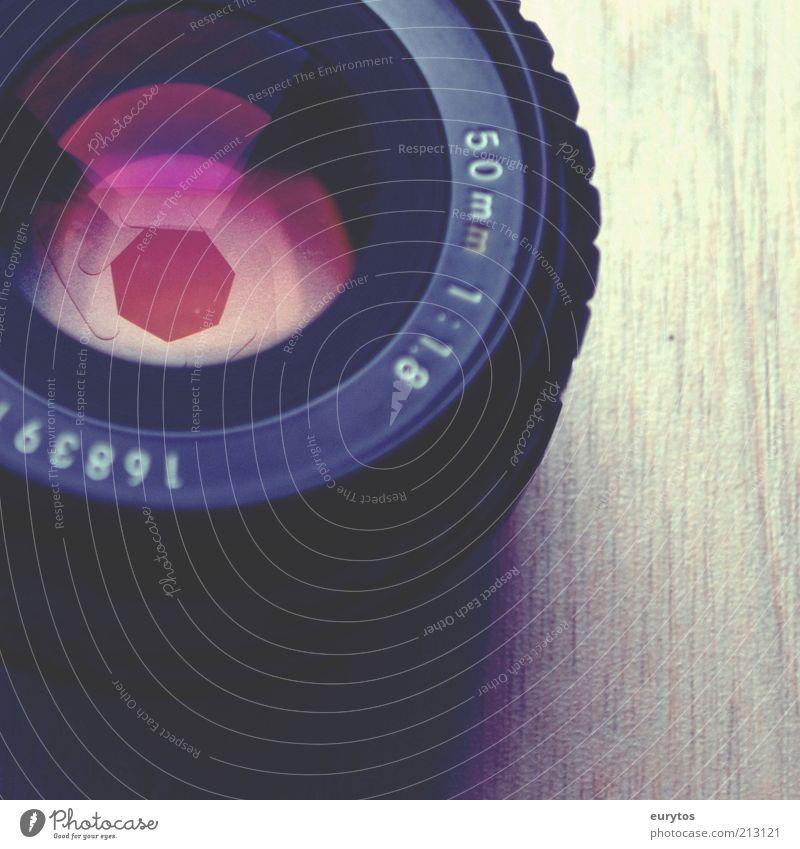 Open the aperture, there's light! Colour Objective Aperture Focal distance Lens Light Violet Technology Optics Colour photo Multicoloured Interior shot Detail