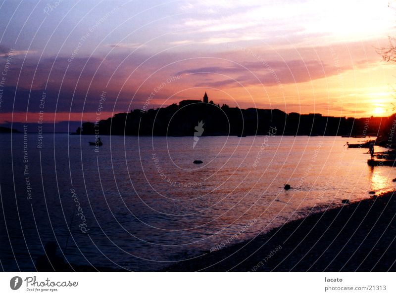dark seaside Ocean Sunset Croatia Town Dusk Sky