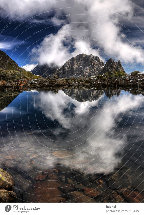 Mirror, mirror... Environment Nature Landscape Air Water Sky Clouds Summer Weather Bad weather Storm Wind Gale Moss Rock Alps Mountain Peak Snowcapped peak