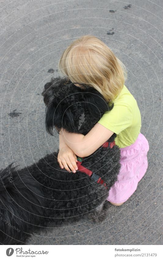 dog love 2 Girl 1 Human being 3 - 8 years Child Infancy Animal Pet Dog Touch To hold on Love Embrace Together Emotions Trust Sympathy Friendship Love of animals
