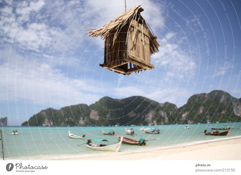 Sky Ocean Summer Beach Vacation & Travel House (Residential Structure) Clouds Mountain Watercraft Island Hut Strange Thailand Blue sky Asia