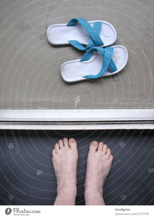 fear of entering a new world Human being Woman Adults Legs Feet 1 Footwear Flip-flops Stand Blue Gray White Beach shoes Doorstep Carpet Toes Wait Dividing line