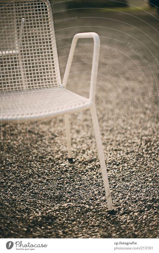Old White Garden Metal Retro Gloomy Chair Terrace Gravel Pebble Garden chair