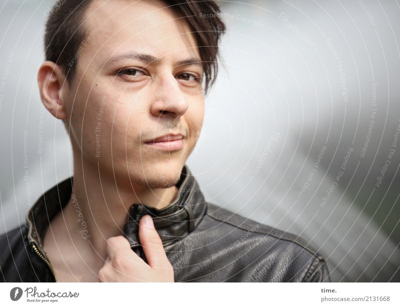 . Masculine Man Adults 1 Human being Jacket Brunette Short-haired Part Designer stubble Observe Think To hold on Looking Astute Self-confident Cool (slang)