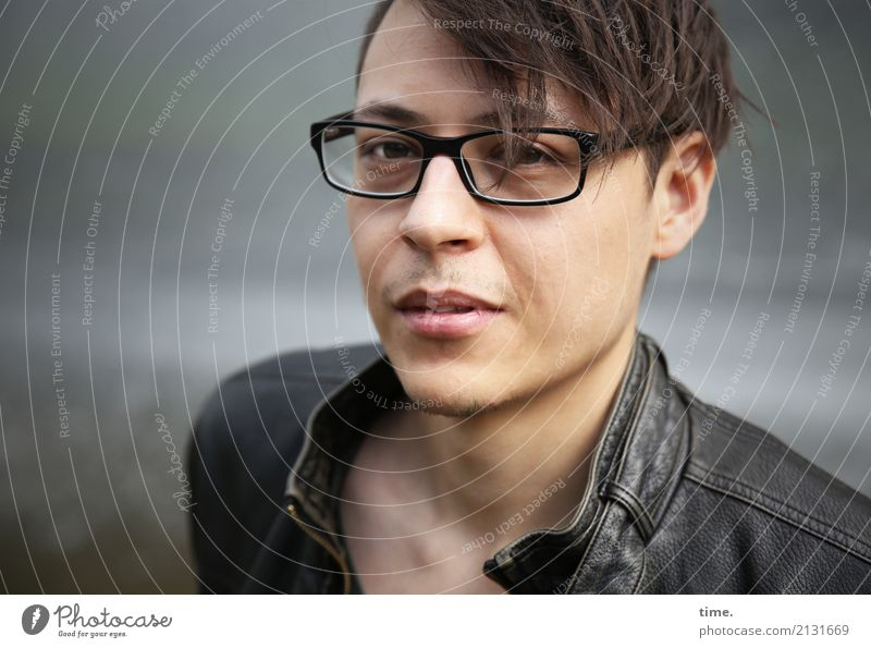 . Masculine Man Adults 1 Human being Jacket Eyeglasses Hair and hairstyles Brunette Short-haired Observe Looking Cool (slang) Dark Beautiful Self-confident