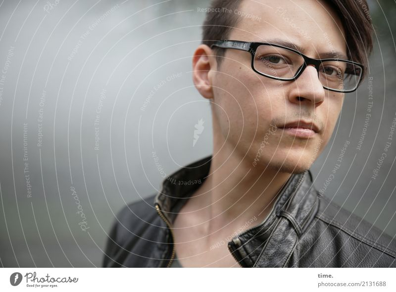 . Masculine Man Adults 1 Human being Jacket Eyeglasses Brunette Short-haired Designer stubble Observe Think Looking Wait Exceptional Curiosity Rebellious