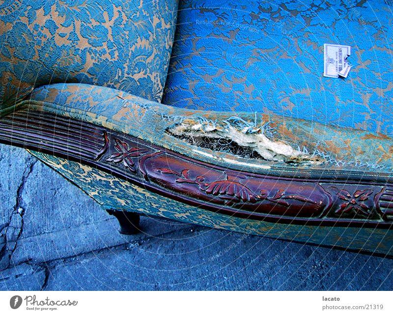 Blue Chair Armchair Trash Living or residing