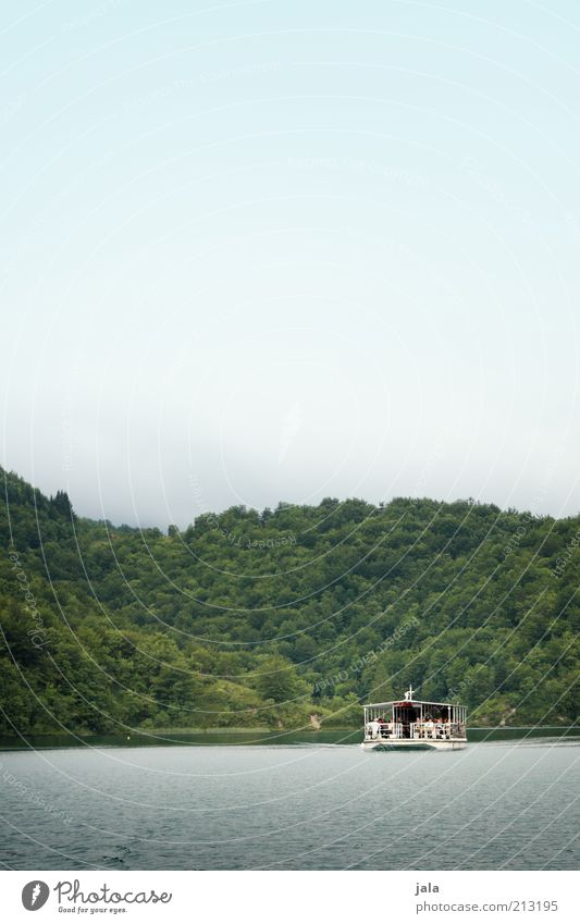 ferry Nature Water Sky Forest Lake Navigation Ferry Colour photo Exterior shot Deserted Copy Space top Copy Space middle Day Boating trip