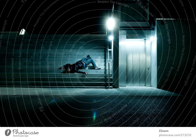 Falling Down Human being Masculine Building Architecture Stairs To fall Dark Blue Colour photo Exterior shot Artificial light Shadow Contrast