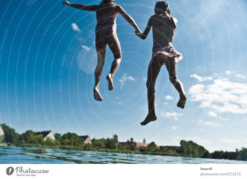 Child Nature Water Blue Vacation & Travel Girl Summer Joy Life Freedom Jump Lake Family & Relations Friendship Infancy Swimming & Bathing