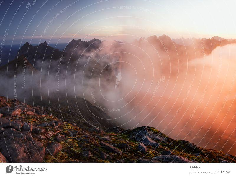 Before sunrise Landscape Elements Clouds Night sky Sunrise Sunset Climate Weather Mountain Lofotes Peak Illuminate Esthetic Exotic Fantastic Gigantic Moody
