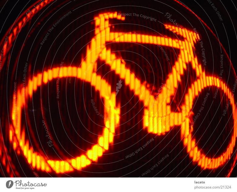 red bike Bicycle Traffic light Red Light Lamp Electrical equipment Technology orange Signal