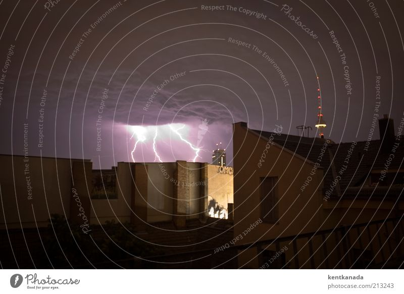 Sky City Summer House (Residential Structure) Dark Berlin Building Germany Wind Weather Electricity Roof Tower Night sky Gale Lightning