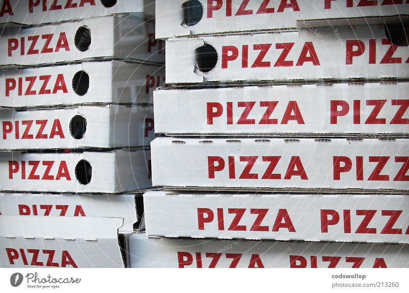 White Red Window Food Characters Word Cardboard Window pane Repeating Stack Lunch Pizza Partially visible Packaging Section of image Fast food