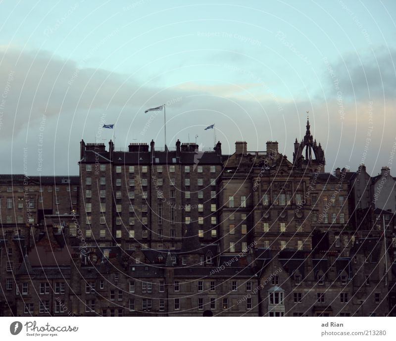 Above the rooftops of Scotland Edinburgh Old town Skyline House (Residential Structure) Wall (barrier) Wall (building) Colour photo Exterior shot Long shot