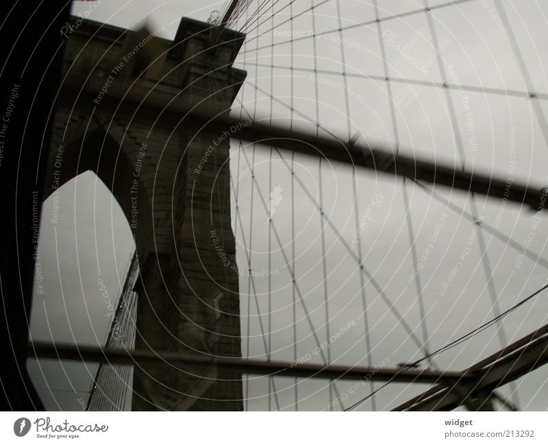 Vacation & Travel Far-off places Dark Wall (building) Gray Wall (barrier) Tourism Bridge Gloomy USA New York City Gate Historic Landmark Wanderlust Sightseeing