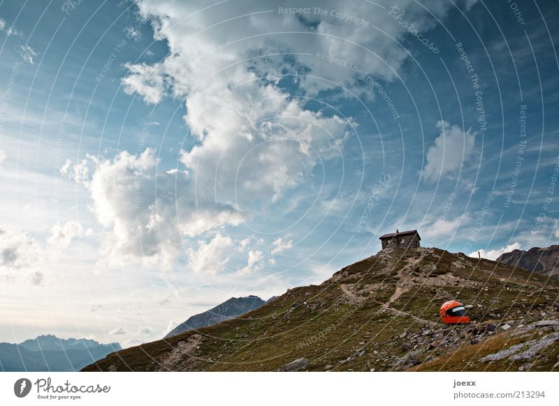 Safety first Nature Sky Clouds Alps Mountain Helmet Tall Blue Brown Wanderlust Loneliness Leisure and hobbies Idyll Calm Hut Alpine hut Lanes & trails