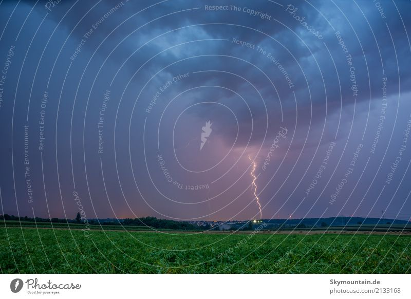 Lightning and Thunder Environment Nature Landscape Clouds Storm clouds Night sky Summer Autumn Climate Climate change Weather Beautiful weather Bad weather Wind