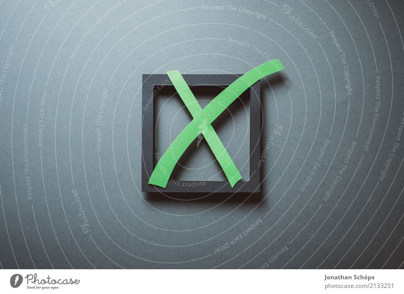 Election cross in green for the Bundestag election 2021 Resolve Select Elections Decide Indecisive Symbols and metaphors Parties Important Definite Parliament