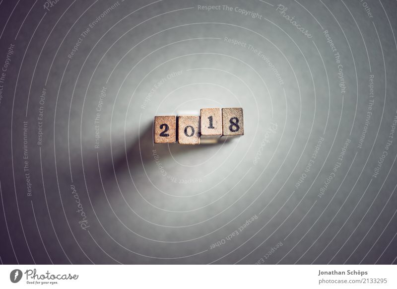 2018 Text Decide Typography Characters Wood Stamp Important Definite Colour photo Studio shot Copy Space left Copy Space bottom Neutral Background