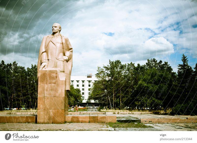Art Firm Statue Monument Sculpture Sharp-edged Famousness Bad weather Storm clouds Kazakhstan