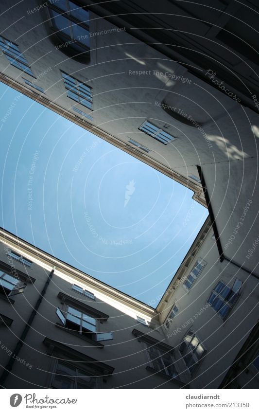 City House (Residential Structure) Window Architecture Facade Manmade structures Historic Narrow Upward Geometry Backyard Vertical Blue sky Partially visible