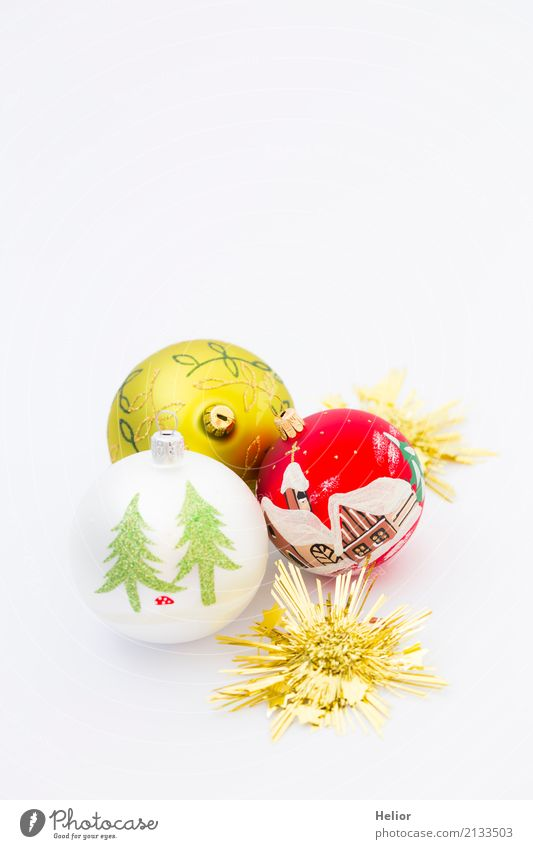 Three Christmas tree balls with golden stars Design Joy Feasts & Celebrations Christmas & Advent Glass Ornament Sphere Glittering Round Gold Green Red White