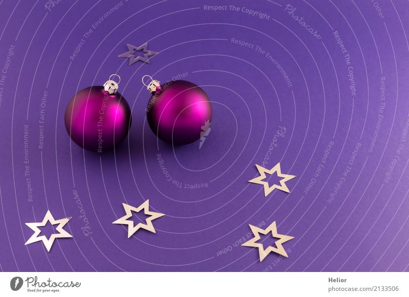 Violet Christmas balls on purple background Design Joy Feasts & Celebrations Christmas & Advent Sign Ornament Sphere Beautiful Round Silver Emotions Moody