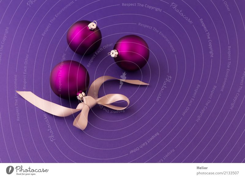 Violet Christmas balls on purple background Design Joy Christmas & Advent Glass Ornament Sphere String Bow Simple Glittering Round Beautiful Silver Emotions