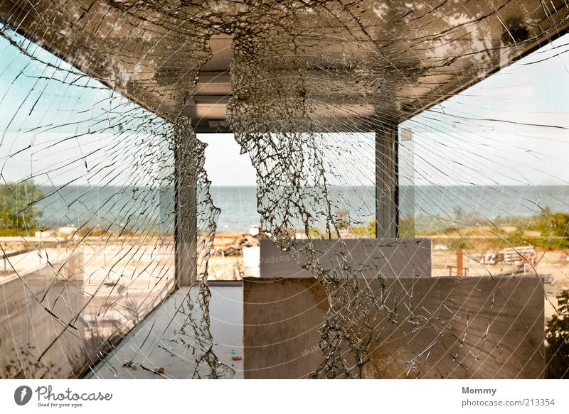 broken glass Landscape Water Sky Summer Weather Glass Broken Colour photo Exterior shot Deserted Panorama (View) Wide angle Coast Vista Pane Smashed window